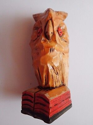 PRIMITIVE VINTAGE Hand Carved Wood Owl Standing On A Book!