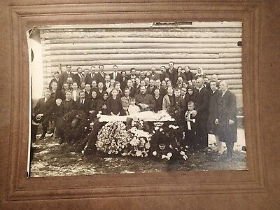 early 1900 LADY IN OPEN COFFIN POST MORTEM ORIGINAL PHOTO ON CARDBOARD  EUROPEAN