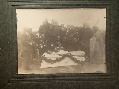 early 1900 LADY , OPEN COFFIN POST MORTEM ORIGINAL PHOTO ON CARDBOARD  EUROPEAN