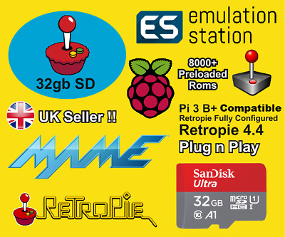 Retropie 32gb Micro SD Card For Raspberry Pi 2,3 & 3b+ Retro Games & Kodi Arcade