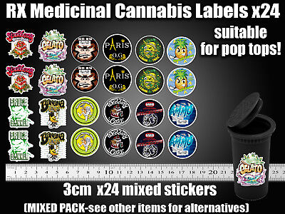 MIXED CALI Labels 13 19 Dram pop top JAR TIN RX Medical TIN CAN JAR POT