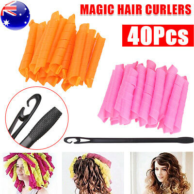 AU 40pcs Stretchy Magic Hair Curlers DIY Leverage Formers Spiral Rollers Styling