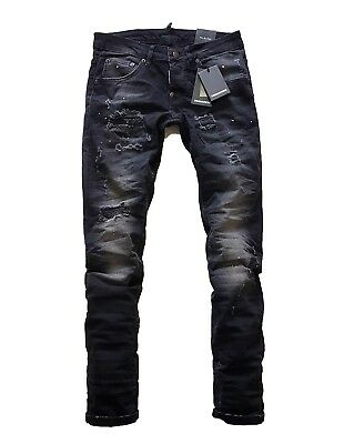 Dsquared2 Cool Guy Men's Black Distressing Slim Fit Stretch Denim Jeans