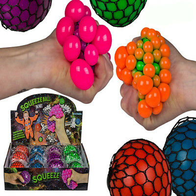 Squeeze Ball In Net Stress Relief Toy Colourful Autism ADHD Stocking Filler Gift