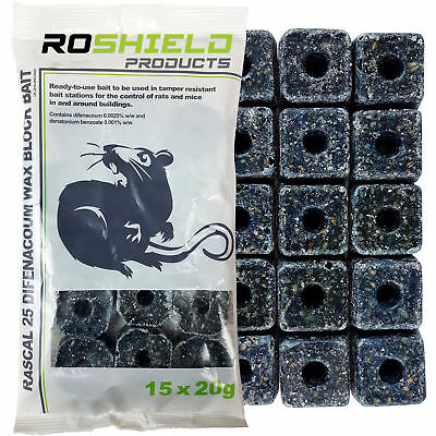 Rotech 300g Rat & Mouse Poison Control Killer Bait Blocks Difenacoum 15 x 20g