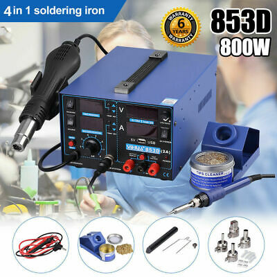 3 in 1 720W LED Digital Soldering Iron Station Hot Air Gun Rework Welder 968DA+