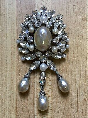 Rare Antique Schreiner Signed AB Rhinestone & Baroque Pearl Large Brooch Pin