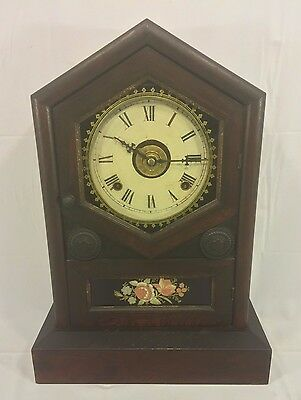 Antique Jerome Wood Steeple Clock w/ Reverse Painted Glass Tablet Runs w/ A