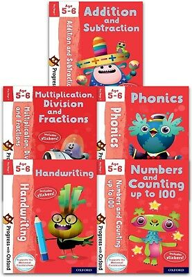 Progress with Oxford Series Collection 5 Books Set (Age 5-6) Phonics, Addition