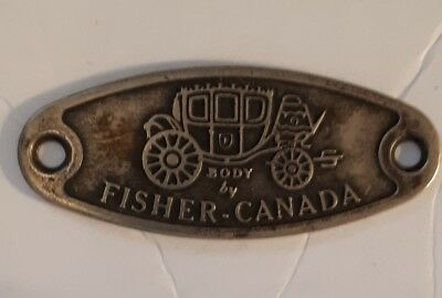 "Rare Vintage Canadian ""body By Fisher Canada"" Stamped Metal Door Sill Plate"