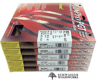 """Olson All-Pro Band Saw Blades 93-1/2"""" inch x (5) Widths Set, 14"""" Delta, Grizzly"""