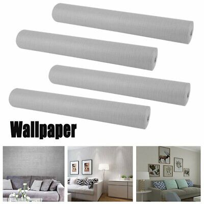 LOT1-20 Wallpaper Gray Modern Silver Plain Textured Wall Coverings 0.53mx10m BE
