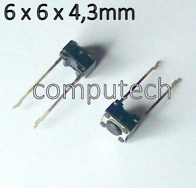 2 pezzi Switch Interruttore Micro a Pulsante 6 x 6 x 4,3mm 2 pin