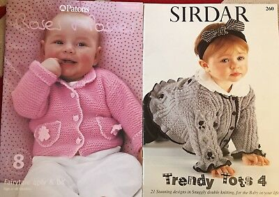 2 Baby Knitting Pattern Booklets Sirdar Trendy Tots 4 Patons Roses