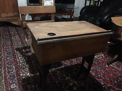 Antique Child's School Desk And Chair