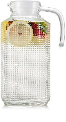63.4 Oz Glass Beverage Drink Pitcher with Lid and Handle Water Juice Dispenser