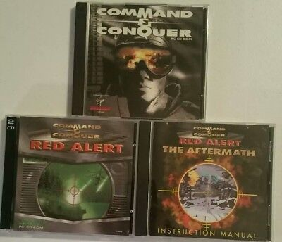 Lot of 3 Command & Conquer PC Games:  Red Alert, Red Alert Aftermath