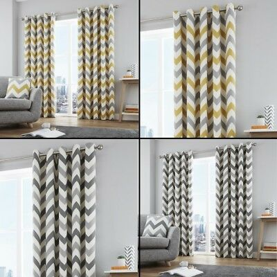 Zig Zag Chevron Fully Lined Eyelet Ring Top Curtains - Grey Ochre Yellow