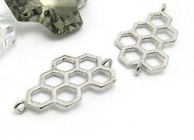 silver honeycomb connector (1) Sterling silver honeycomb pendant silver bee