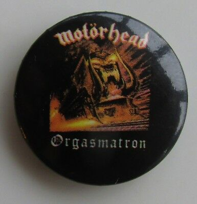 MOTORHEAD ORGASMATRON VINTAGE METAL BUTTON BADGE FROM THE 1980's  NEW OLD STOCK