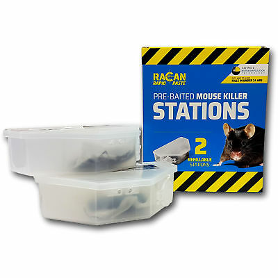 Racan Full Strength & Fast Action Mouse Poison Pre-Baited Bait Boxes for Control