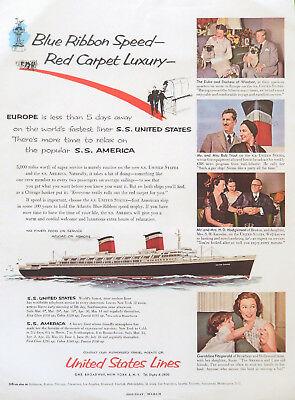 Vtg 1954  S.S. United States Lines ocean liner ship advertisement print ad art