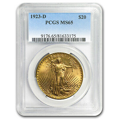 1923-D $20 Saint-Gaudens Gold Double Eagle MS-65 PCGS - SKU#20464