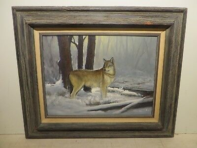 "12x16 org.1980 oil painting on board George Kovach ""Cayote Wolf Tx Hill Country"""