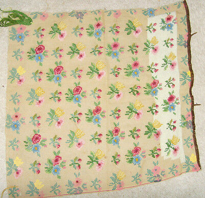 "Rough condition needlepoint canvas 20x20"" to complete floral garden repair chic"