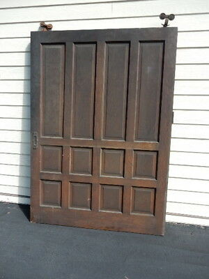 "Wooden Oak 12 Panel Pocket Door 84"" Tall X 60"" Wide"