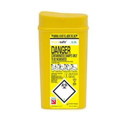 Click Medical Sharps Bin Puncture Resistant Base 0.2L Yellow Ref CM0641