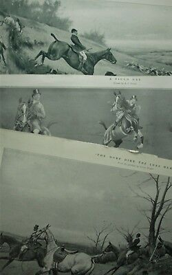3 Antique Vintage 1913 Fox Hunting Equestrian Prints Not Repros!!!