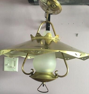 1960's VTG Mid Century Mod. Flying Saucer UFO Swag Ceiling Light Fixture Brass
