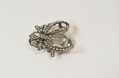 Vintage Large Oval Clear Crystal Rhinestone Brass Bow Flower Brooch Pin