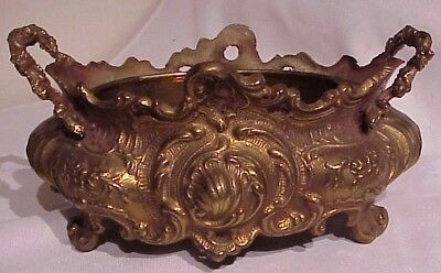 Gorgeous!! Vintage Antique Fancy Ornate Solid Cast Brass Planter With Liner