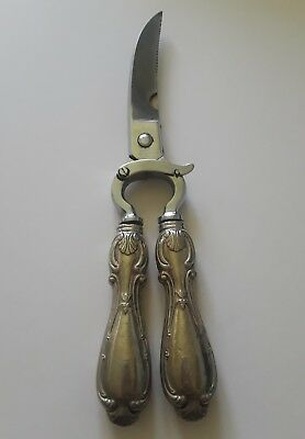 VINTAGE ANTIQUE HOT DROP STERLING SILVER Poultry Cutter Scissors ITALY Utensil
