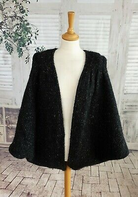 Hand Crafted Vintage TAPESTRIES IRELAND Black Wool chunky knit cardigan size L