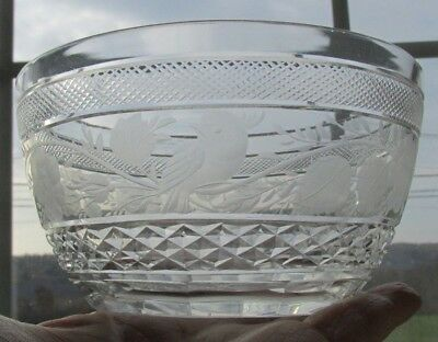 "Antique Georgian Style Bird Floral Cut Etched 4 5/8"" X 2 1/2""H Bowl (11 Avail)"