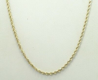"""Sharp 14K Yellow Gold Diamond Cut .8mm Fine Rope Chain Necklace 16"""" 3.8g A2455"""