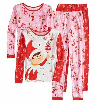 Girls Elf on the Shelf Winter Holiday Christmas Pajamas 2 PIECE 4 6 8 10 girl's