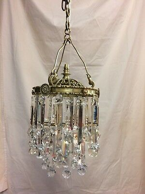 Antique vintage French/Italian Circular /Brass/Gilded Chandelier cut glass