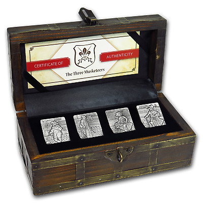 2018 Djibouti Silver Three Musketeers Antique Finish 4-coin Set - SKU#169404