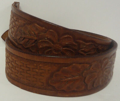 VTG 70s TOOLED LEATHER WESTERN BELT HIPPIE COWGIRL No Buckle Flower Basket Weave
