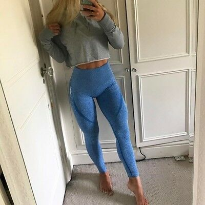 3d1f502fb053a BNWOT GYMSHARK HIGH Waisted Seamless Leggings in Blueberry Marl Size ...