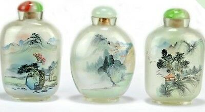 Chinese glass painted  Snuff Bottles With Decorated Landscapes Circa 1900-1949