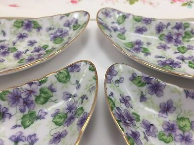 4 Vintage Lefton Purple Violet Chintz China Crescent Bone Dishes Never Used Lot