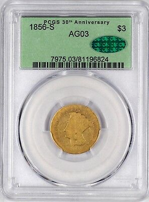 Pop 3 1856-S $3 AG03 PCGS CAC. Low Ball Gold San Francisco Three Dollar