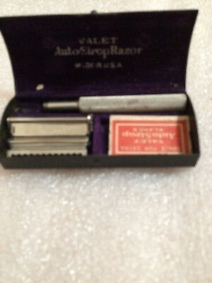 Vintage Valet Auto Shop Razor Compliments Of Colonial Filling Station with sign