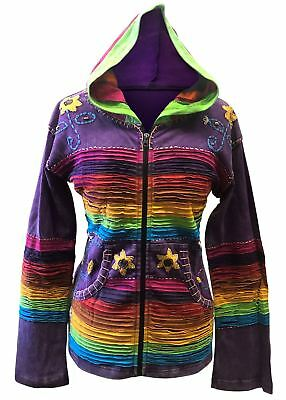 Womens Multicoloured Hippie Hoodie Colorful Casual Cotton Jacket