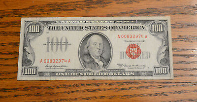 1966 One Hundred Dollar $100 Legal Tender Note Red Seal